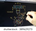 engineer working on cad blue... | Shutterstock . vector #389629273