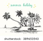 beautiful hand drawn vacation... | Shutterstock .eps vector #389653543