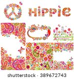 Set Of Hippie Backgrounds And...