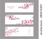 cherry blossom realistic vector ... | Shutterstock .eps vector #389676307