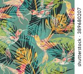 seamless exotic pattern with... | Shutterstock .eps vector #389680207