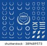 crest logo element set set of ... | Shutterstock .eps vector #389689573