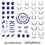 crest logo element set set of ... | Shutterstock .eps vector #389689603