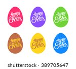 set of flat colored eggs with... | Shutterstock .eps vector #389705647