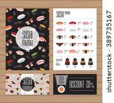 sushi menu design. a4 size and... | Shutterstock .eps vector #389735167