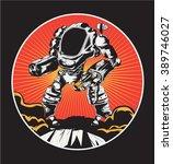 warrior robot illustration ... | Shutterstock .eps vector #389746027