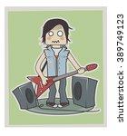 funny little rock guy card... | Shutterstock .eps vector #389749123