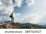 guy with a travel backpack on... | Shutterstock . vector #389763427