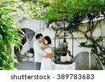 happy couple bride and groom... | Shutterstock . vector #389783683