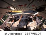 flight deck of modern aircraft. ... | Shutterstock . vector #389795107