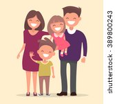 happy family . father mother... | Shutterstock .eps vector #389800243