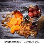 dried fruits raisins  apricot ...   Shutterstock . vector #389804143