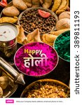 happy holi greeting card... | Shutterstock . vector #389811193