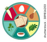 passover seder flat icons .... | Shutterstock .eps vector #389816203