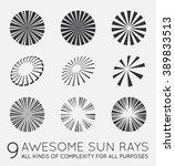 set of sunburst vector rays of... | Shutterstock .eps vector #389833513