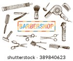 hand drawn hairdressers... | Shutterstock .eps vector #389840623
