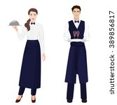 young beautiful waitress and... | Shutterstock .eps vector #389856817