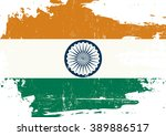 indian scratched flag. an... | Shutterstock .eps vector #389886517