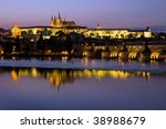 prague castle at dusk  czech... | Shutterstock . vector #38988679