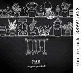 rustic kitchen sketchy banner... | Shutterstock .eps vector #389915653