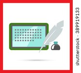 inkwell  quill and tablet...   Shutterstock .eps vector #389919133