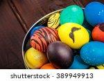macro shot on easter eggs... | Shutterstock . vector #389949913