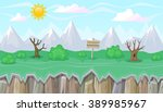 seamless editable mountainous... | Shutterstock .eps vector #389985967