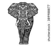 vector black and white henna... | Shutterstock .eps vector #389988877