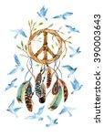 dream catcher with birds ... | Shutterstock . vector #390003643