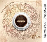 coffee round design in vintage... | Shutterstock .eps vector #390005983