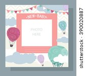 baby arrival card   photo frame ... | Shutterstock .eps vector #390020887