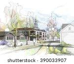 old town street watercolor   Shutterstock . vector #390033907
