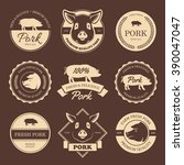 set of pork labels  badges ... | Shutterstock .eps vector #390047047