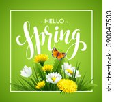 inscription spring time on... | Shutterstock .eps vector #390047533