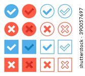 crosses and check marks icons... | Shutterstock .eps vector #390057697