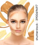 contouring.make up woman face....   Shutterstock . vector #390069697