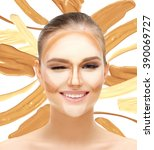 contouring.make up woman face....   Shutterstock . vector #390069727