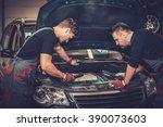 professional car mechanics... | Shutterstock . vector #390073603