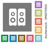speakers flat icon set on color ...
