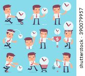 flat simple character manager...   Shutterstock .eps vector #390079957