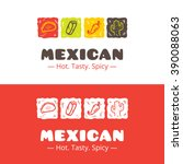 vector colorful mexican food... | Shutterstock .eps vector #390088063