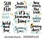 summer lettering design set  ... | Shutterstock .eps vector #390089143