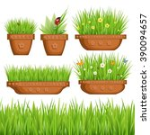 vector set of plants in pots ... | Shutterstock . vector #390094657