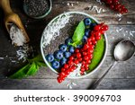 green detox smoothie with... | Shutterstock . vector #390096703