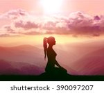 yoga and meditation. silhouette ... | Shutterstock . vector #390097207