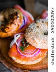 bagels with cream cheese and... | Shutterstock . vector #390102097