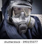breathing mask and safety suit... | Shutterstock . vector #390155377