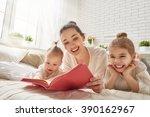happy loving family. pretty... | Shutterstock . vector #390162967