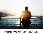 back view of male successful... | Shutterstock . vector #390163987