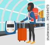 woman with suitcase on wheels... | Shutterstock .eps vector #390164473